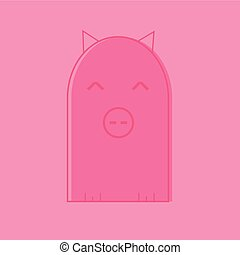 Colorful stylized drawing of cute cartoon pig swine - for...