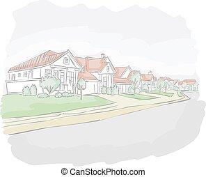 Colorful suburb neighborhood. Cartoon city.