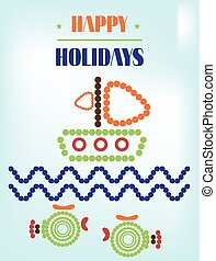 Colorful summer background, card with text Happy Holidays