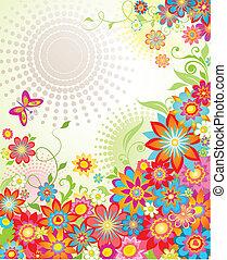 Colorful summer floral banner