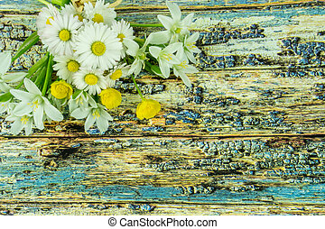 Colorful summer flowers on a colored wooden background