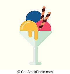 Colorful summer ice cream sundae, delicious summer sweet...