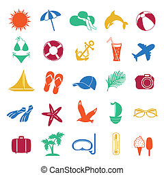 colorful summer icons on white background