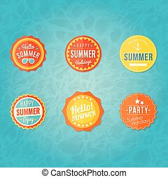 Colorful summer labels