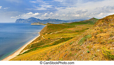 Colorful summer landscape in the Crimea near by Karadag