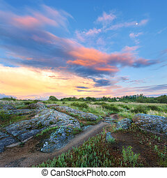 Colorful summer landscape with big stones, green grass