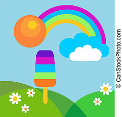 colorful summer meadow with rainbow and ice cream