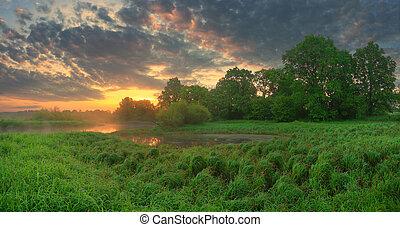 Panoramic summer scenic background