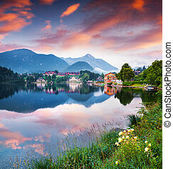 Colorful summer morning on the Grundlsee lake