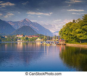 Colorful summer morning on the Grundlsee lake.
