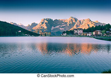 Colorful summer morning on the Lake Misurina