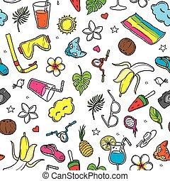 Colorful summer pattern, hand-drawn illustration