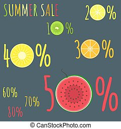 Colorful summer sale badges with fresh fruits zero circles