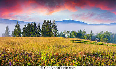 Colorful summer sunrise in Carpathian mountain village.
