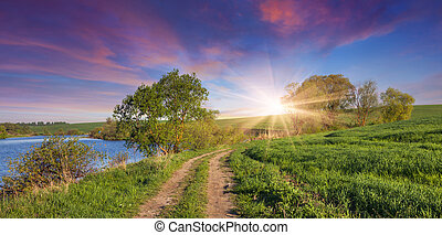 Colorful summer sunrise with road near the lake