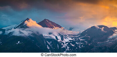 Colorful summer sunset on the Grossglockner mountain