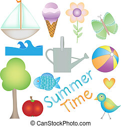 Colorful Summer Time vector graphic