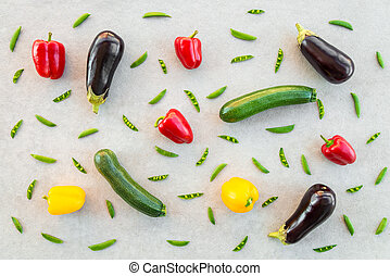 Colorful summer vegetables on concrete background