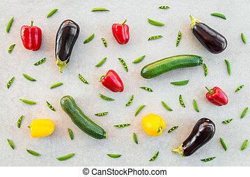 Colorful summer vegetables on concrete background