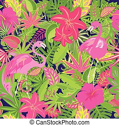Colorful summery wallpaper with exotic flowers, tropical leaves and pink flamingo for fabric, textile, wrapping paper, greeting card, invitation, party design