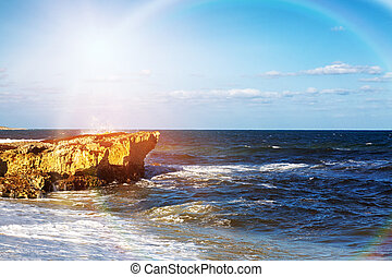 Colorful Sun Rays on Crashing Waves