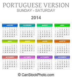 2014 calendar portuguese version - Colorful sunday to ...