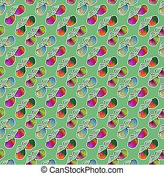 Colorful Sunglasses Seamless Pattern on Green Background.
