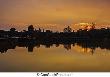 Angkor Wat, Siem Reap, Cambodia, Asia - Colorful sunrise at...