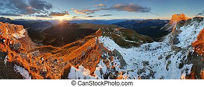 Colorful sunrise autumn mountains. Dolomites, Italy