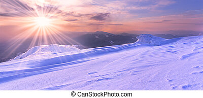 colorful sunrise in the Carpathian mountains in winter