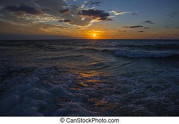 Colorful sunrise on the Black Sea