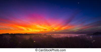 Colorful Sunrise Over the Lake