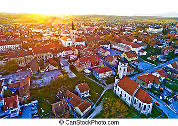 Colorful sunset above medieval town of Krizevci aerial view,...