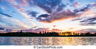 Colorful sunset across River
