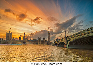 Colorful Sunset at Big Ben House of Parliament and Westminster B