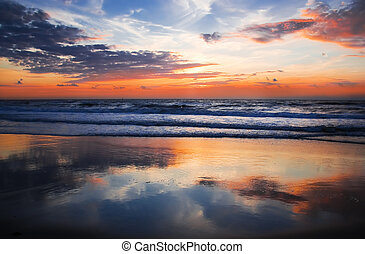 Colorful sunset at the beach