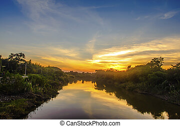 Colorful sunset at the river