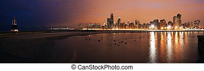 Colorful sunset in Chicago