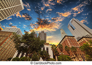colorful sunset in downtown Los Angeles