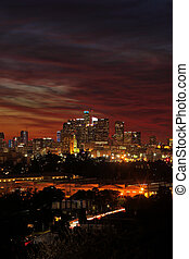 Colorful Sunset in Downtown Los Angeles, Southern California