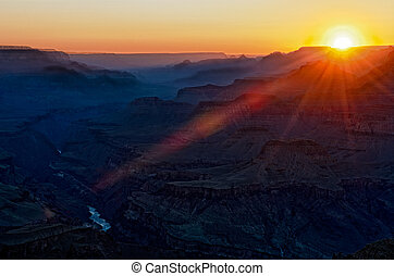 Colorful sunset in Gran Canyon - View of sunset from the...