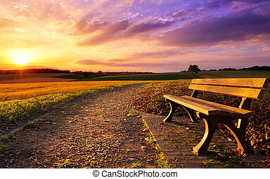 Colorful sunset in rural idyll - Colorful sunset scenery in ...