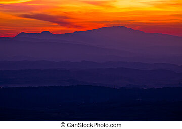 Colorful sunset layers of Prigorje region, northern Croatia