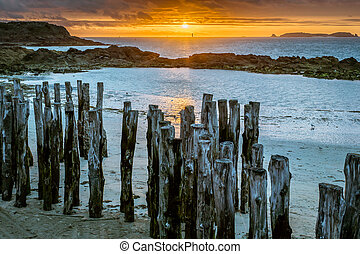 Colorful sunset on the beach of Saint-Malo