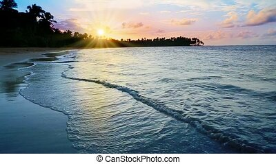 Colorful sunset on tropical beach.Beautiful sky sunset on the ocean.