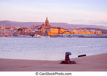 colorful sunset over Alghero