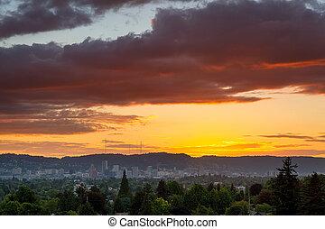 Colorful Sunset over Portland Oregon Downtown Skyline