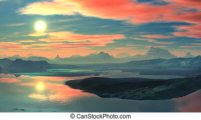 Colorful sunset over the mountain l