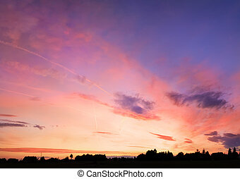 Colorful sunset over the village