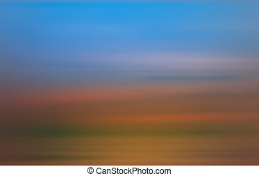 Colorful sunset with long exposure effect, motion blurred...
